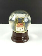 Antique Vintage Cottage House Snow Globe Snowdome with Ceramic Base