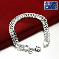 925 Sterling Silver Filled Solid Classic 10MM Curb Chain Bracelet Bangle Unisex