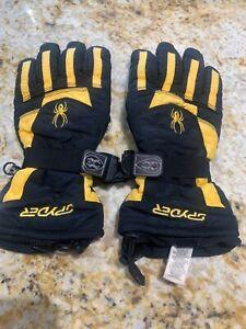 Spyder unisex black yellow motif adults medium Ski gloves used