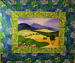 "Sylvan Vista Quilt 39""x33"" Pieced & Appliqued Thread Painting Hand Dyed Fabrics"