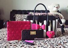 🌸 BETSEY JOHNSON Bag Wallet WRISTLET 3PC SET Black STRIPED Tote PINK Bow HEARTS