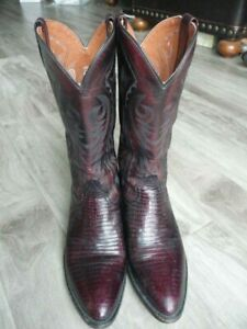 Mens Dan Post Black Cherry Exotic Lizard Western Cowboy Boots