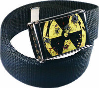 Nuke Radioactive Logo Belt Buckle Bottle Opener Adjustable Web Belt