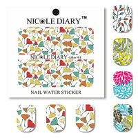 Nail Art Water Transfer Decal Manicure Sticker Elegant Leaves Theme Tattoo