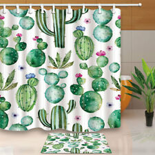 Cactus Shower Curtain,Tropical Plants Print Cactus Bath Curtain with 12PCS Hooks