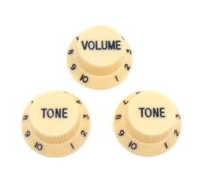 Guitar Volume Tone Knobs - Ivory with Black Lettering - Top Hat Style
