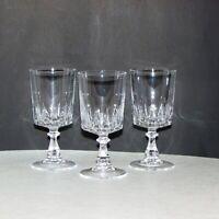"3 VINTAGE CRYSTAL SHERRY GLASSES 4 7/8"" SMALL GOBLET CORDIAL LIQUEUR FANCY STEM"