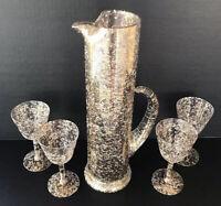 Vintage West Virginia Glass Cocktail Pitcher Glasses Set Gold White Splatter MCM