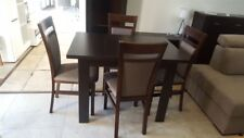 Dining Set Extending Table and 4 Solid Wood Chairs in Oak Sonoma Small Size