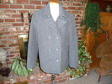 Femme Jordan Craig Gray Wool Blend Pea Coat Double Breasted Womens Size XL
