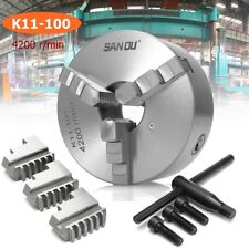 SANOU Lathe Chuck 100mm 3 Jaw Self Centering & Reversible Jaw K11-100 Tool
