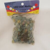 Vintage 101 Glass Cats Eye Marbles 100 & 1 Large Shooter -Sealed Package