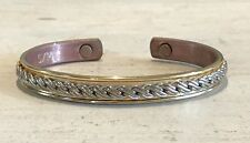 Vintage 24K Electroplated Gold And Silver Tone Rope Cuff Strong Magnets Bracelet