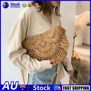 AU Summer Women Tassels Straw Rattan Weave Shoulder Bag Flap Handbag (Brown)