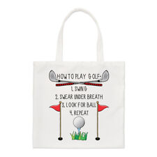 How To Play Golf Small Tote Bag - Funny Dad Father's Day Shopper Shoulder