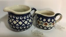 Lot of 2 Ceramic Creamers Hand Made In Poland