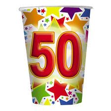 BICCHIERI STARDUST NUMERO 50 ANNI IN CARTONCINO CONF.10 PEZZI FESTE E PARTY