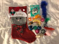 PERSONALIZED Cat Toy Mystery Stocking-Cat Toys in a Cute Xmas Stocking w/Name