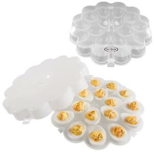 Deviled Egg Trays Snap On Lids Set of 2 Platter Carrier Plates Safe Delivering