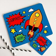 Kids Dinner Table Placemat Set & Coaster Personalised Comic Rocket for Boys