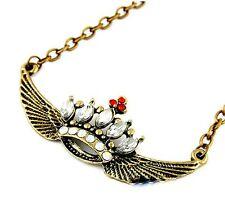 Art Deco vintage retro crystal crown w/ wings necklace