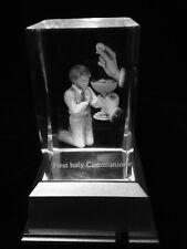 Boy First Holy Communion - 3d Laser Etched Crystal Block With 4 Lights LED Light