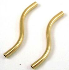 20pc 14k GOLD FILLED noodle Curved liquid s tube bead spacer 1.5mm GS19 made USA