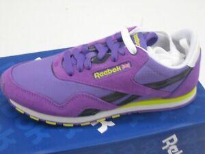 Reebok Classic Femmes Nylon Violet Slim Cuir Chaussures Baskets Neuf J85989