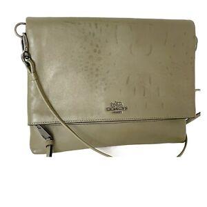 Coach #51896- Madison Leather Foldover Crossbody Bag / Clutch - Soft Croc Print
