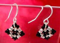 DESIGNER EARRINGS HANDMADE in UK black and silver geometric NEW  UK FREE P&P