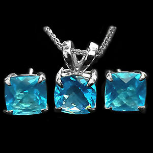 Trustmark Sterling Silver Cushion Cut Birthstone Earring Necklace Jewelry Set