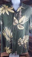 Caribbean Joe Hawaiian Buttoned Down Shirt Green with Palm Leaves Size Large