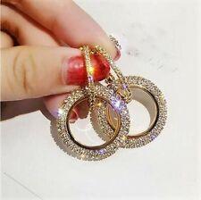 18K Yellow Gold Plated Earrings Woman's Dangle Hoop Crystal Rhinestone Studded