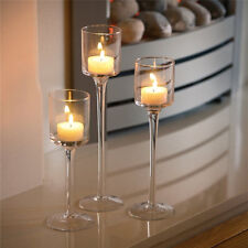 3PCS/Set Elegant Long Stem Glass Candle Holders Candlestick Tea Light Wedding
