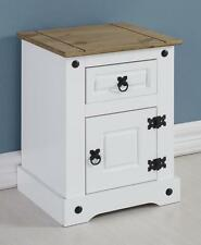 CORONA White and Distressed Waxed Pine 1 Door 1 Drawer Bedside Cabinet