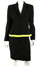 THIERRY MUGLER Vintage Black & Neon Yellow Wool Skirt Suit 42