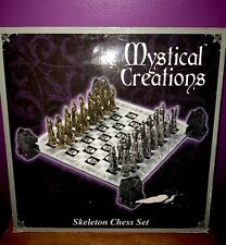SKELETON SLAYER GOTHIC FANTASY SKULL Chess Set Glass Board MID-EVIL MEDIEVAL