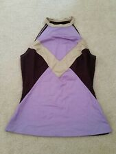 Plein Sud Stretch Halter neck Tank Top  sz 38 S M Violet Geo High neck