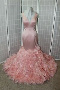 Sherri Hill 50487 Blush Mermaid satin and pink Size 6 long formal gown, $800