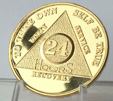 24 Hours AA Medallion 24k Gold Plated Alcoholics Anonymous Sobriety Chip Coin