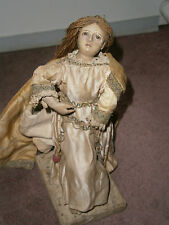 ANTIQUE 18TH /19THC.NEAPOLITAN CRECHE FIGURE MARY MAGDALENE TEARS GLASS EYES OLD