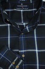 Hathaway Sport Hombre Negro Azul Marino & Blanco Algodón Camisa Informal L