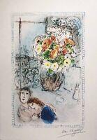 "Marc Chagall, ""Les Renoncules"" 40x28 litografia 1973 Galerie Maeght"