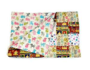 Handmade Baby Quilt Blanket Reversible Unique Multicolor Three Blind Mice & Cats