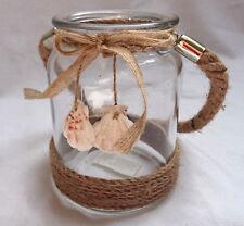 Windlicht maritim Glas rund Jutehenkel Laterne Teelichthalter Muscheln shabby