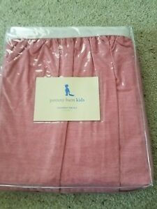 Pottery Barn Kids red chambray percale crib bedskirt dust ruffle new
