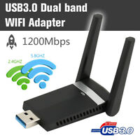 1200Mbps WiFi Adapter 2.4GHz/5.8GHz Dual Band Dongle USB 3.0 Wireless Adapter