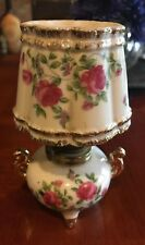 Vintage Small Hurricane Oil Lamp Hand Painted Pink Floral Motif Japan 6�