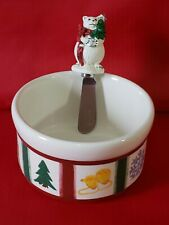 Pfaltzgraff The Snow Bear Collection Dip Mix Bowl With Spreader Set Hot or Cold
