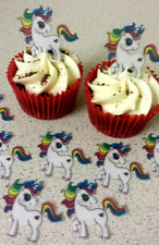 12 PRECUT Colourful Unicorns Edible wafer/rice paper cupcake toppers